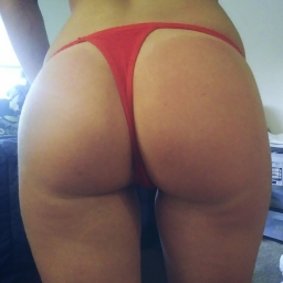 Red thin strap thong